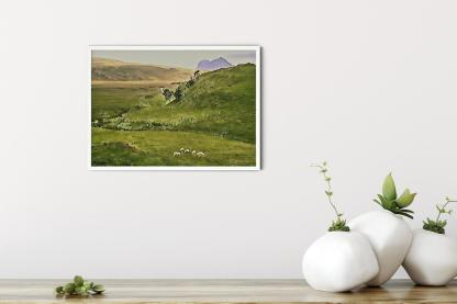 """Wall art picture Sheep in the Valley of Deep Freeze Mountains (16.5"""" x 11.7"""")"""