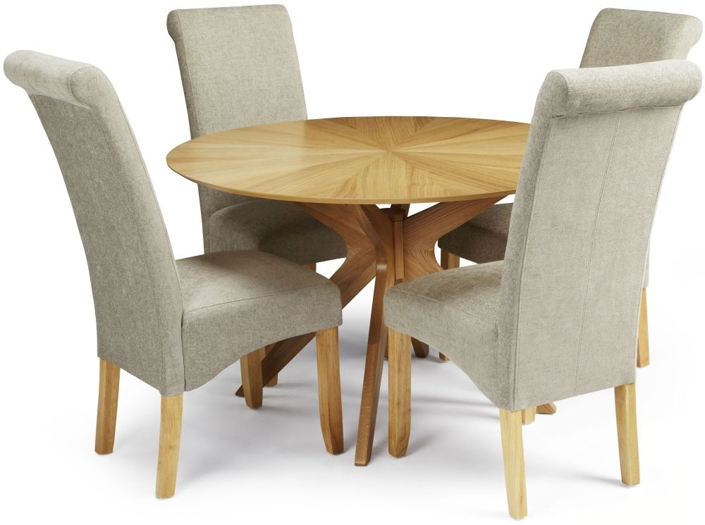 Cool Serene Bexley Oak Round Dining Set With 4 Kingston Sage Plain Fabric Chairs 120Cm Saso Shop And Save Online Andrewgaddart Wooden Chair Designs For Living Room Andrewgaddartcom