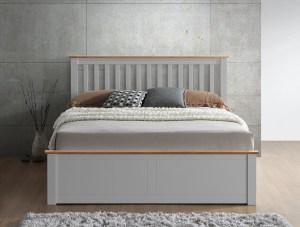 Malmo Wooden Ottoman Bed Pearl Grey