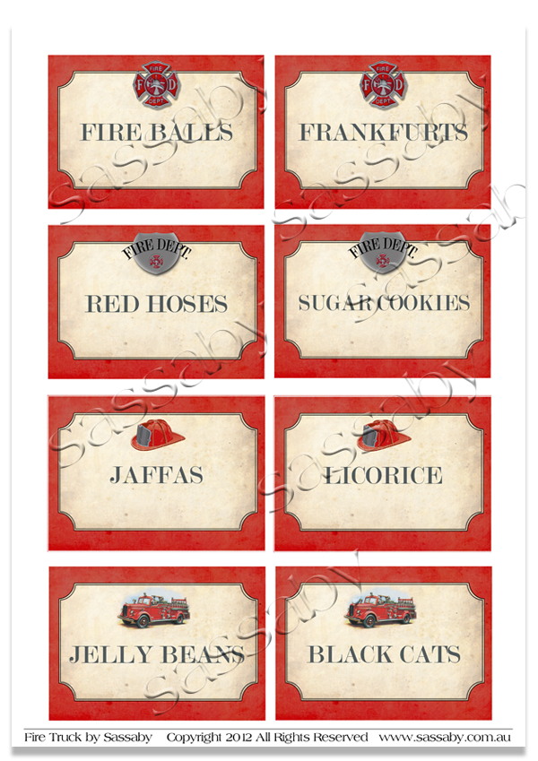 Firetruck Party Labels