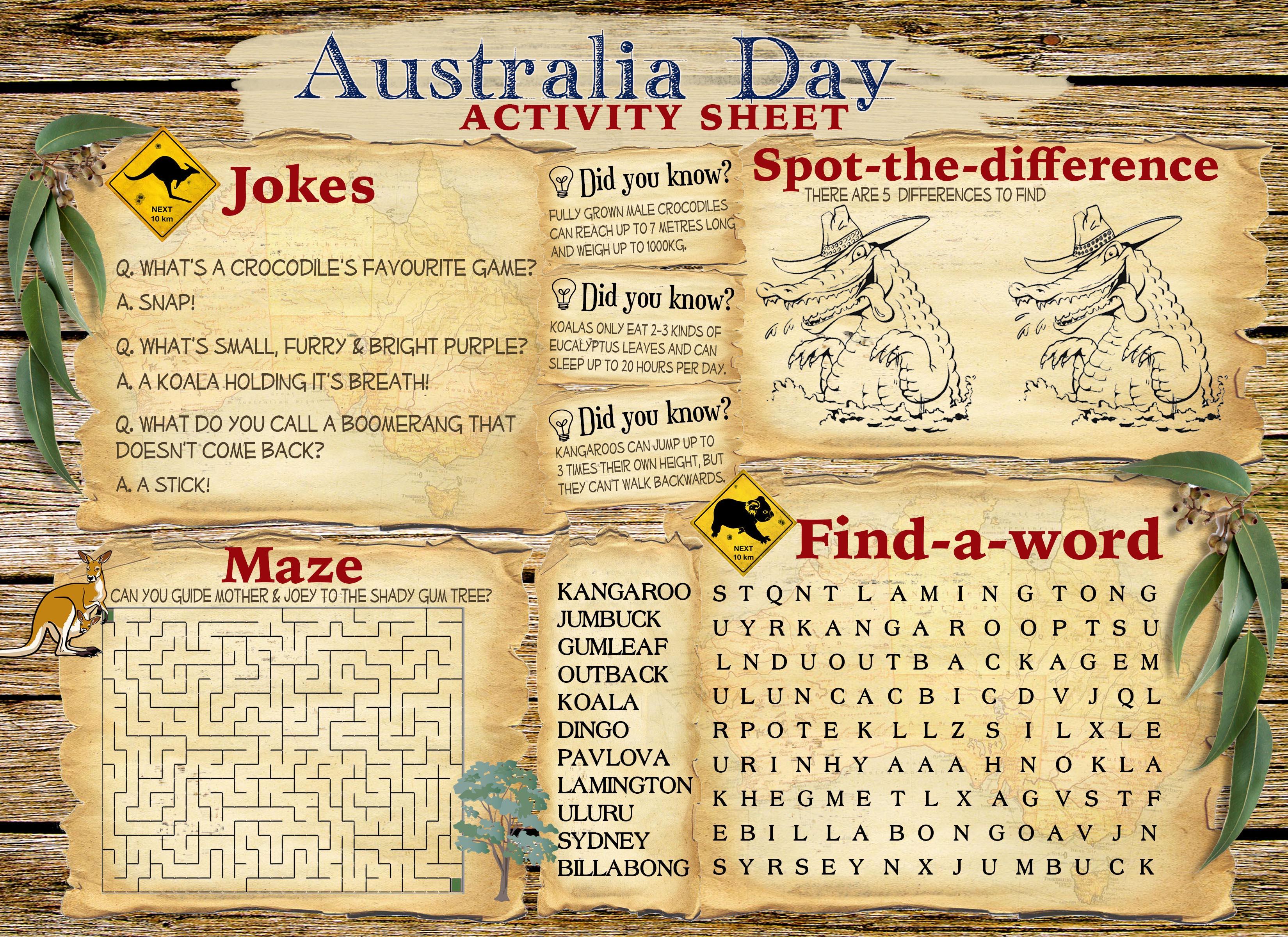 Australia Day Activity Sheet Free Printable