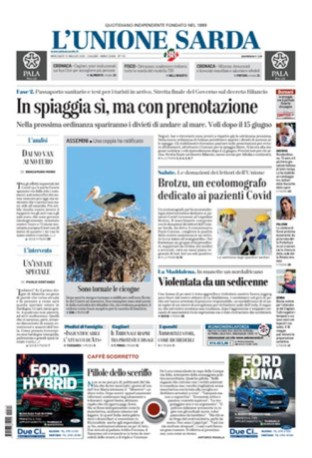 Prima pagina Unione Sarda 13 maggio