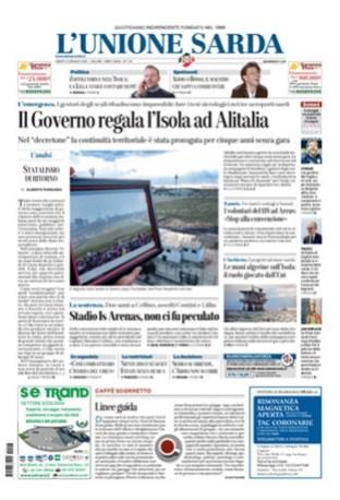 Prima Pagina Unione Sarda 16 maggio