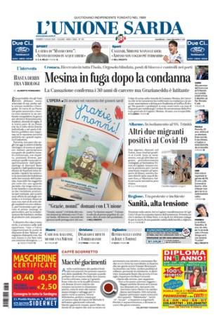 Prima Pagina Unione Sarda 3 luglio
