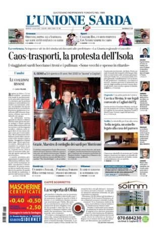 Prima pagina Unione Sarda 7 luglio