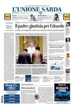 Prima pagina Unione Sarda 21 luglio