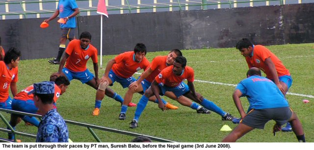 Indian team being put through it's paces by Suresh Babu.