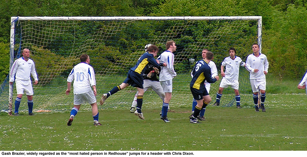 Gareth Brazier goes in for a header