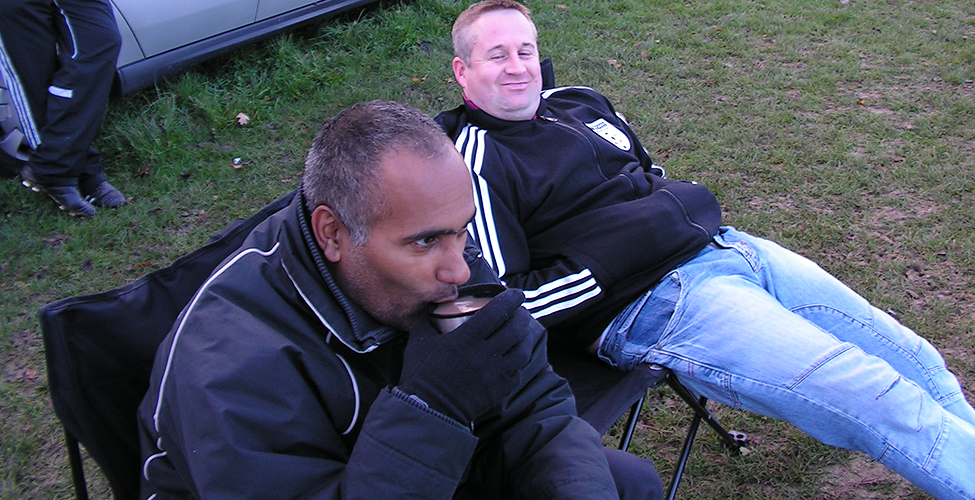 Sangha takes a swig from the flask in the cold conditions as Langan watches on. Pearson's Nan made the tea today.