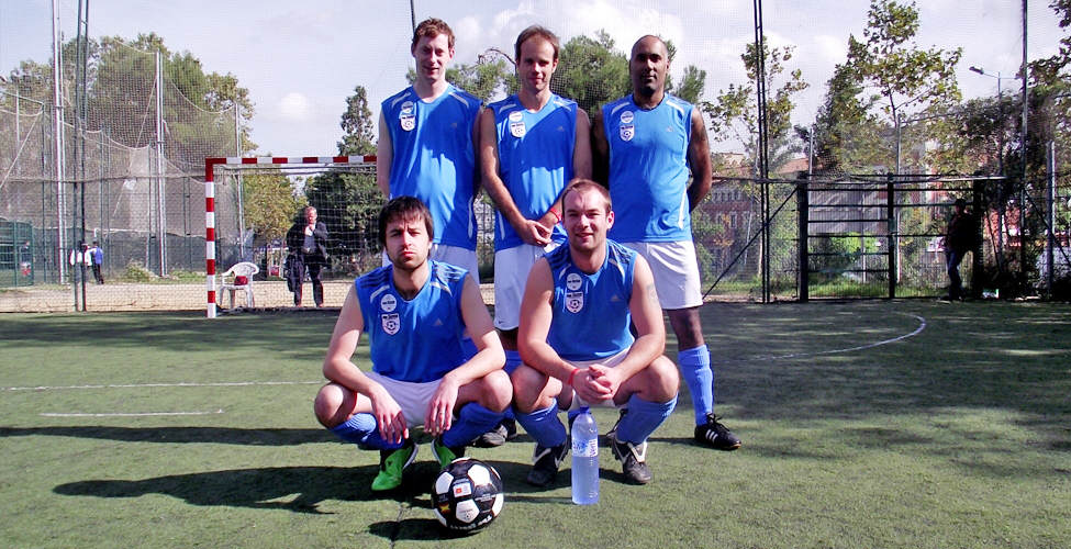 Edmondson, Gillespie, Sangha, Gourlay and Hembrough, before the 9-8 win over Ashwan FC.