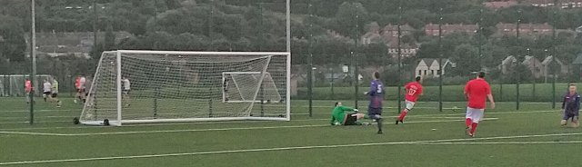 Pattison races away after firing in another goal.