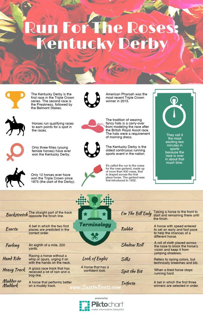 Kentucky Derby Run For The Roses Infographic Trivia and Horse Racing Terminology Fun