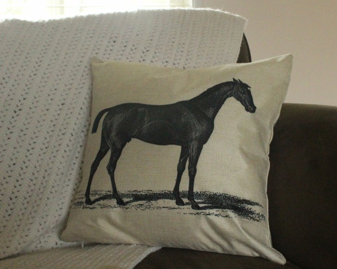 Vintage Racing Horse Pillow