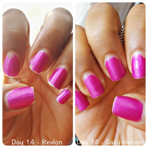 Day 14 Sally Hansen vs Revlon top coat - sassycritic.com