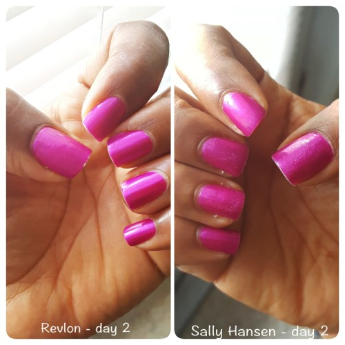 Day 2 Sally Hansen vs. Revlon top coat - sassycritic.com