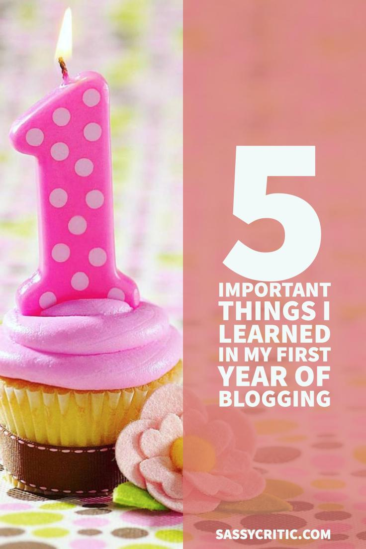 5 Important Things I Learned in my First Year of Blogging