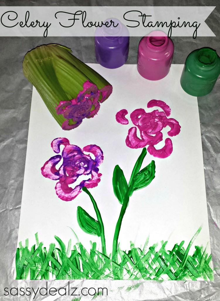 celery flower stamp craft