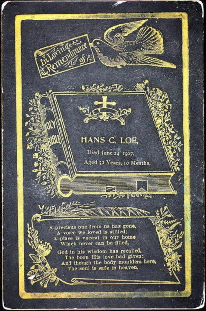 1907 chicago funeral card