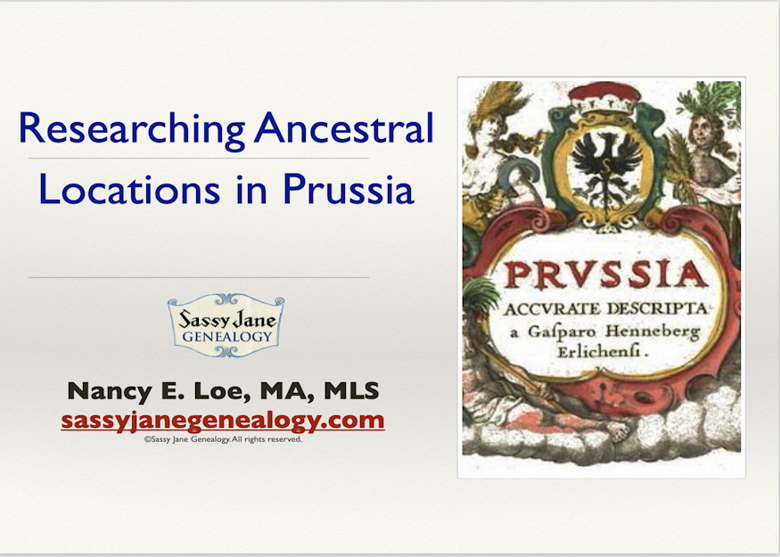 genealogy presentation research ancestral locations in prussia sassy jane loe