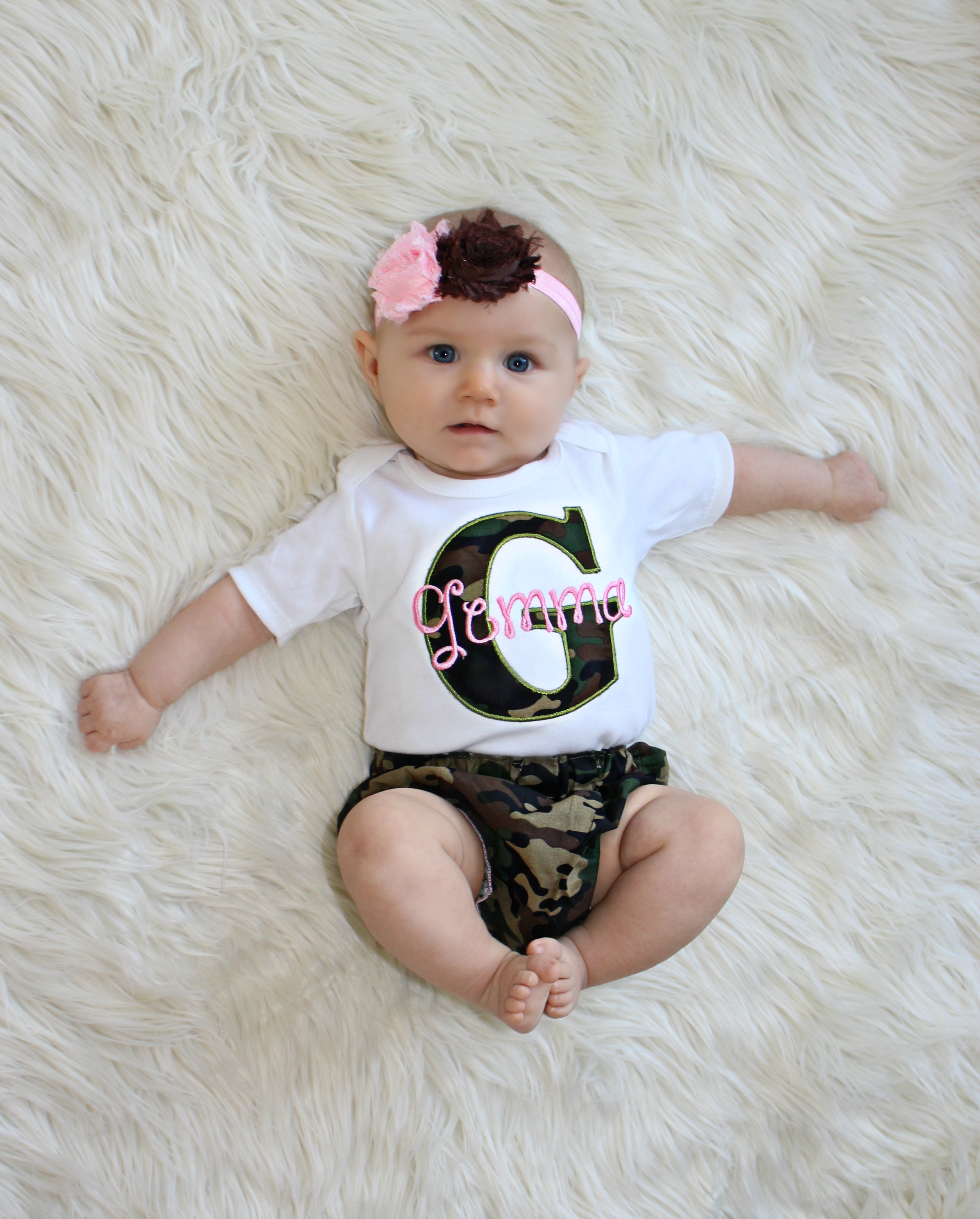 Camo Personalized Baby Girl Clothes Camo And Pink