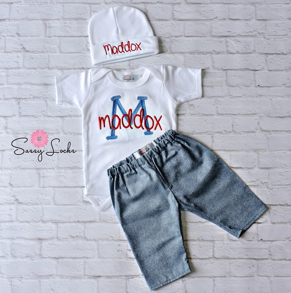 Baby Boy Clothes Denim Look Pants Amp Personalized Bodysuit And Hat