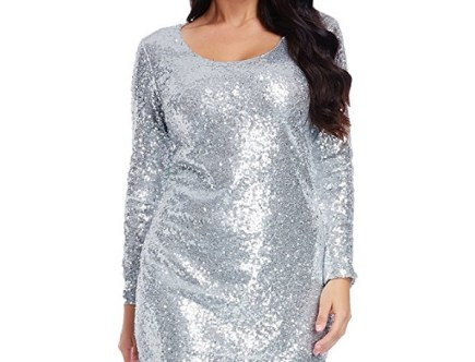 Plus Size Sequin Party Dress in silver