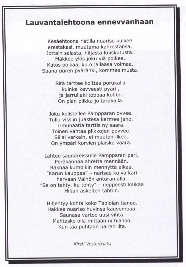 Lauvantaiehtoona ennevvanhaan - Kirsti Vesterbacka