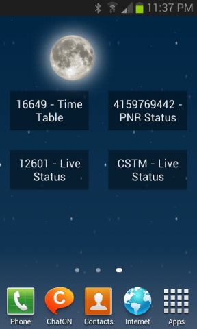 Widgets for Indian Train Status