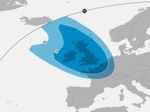 Astra 2F Satellite Signal Footprint Maps uk beam