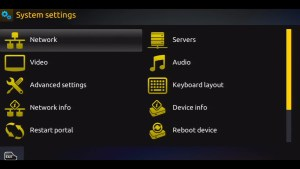 MAG 254 IPTV System Settings Screen