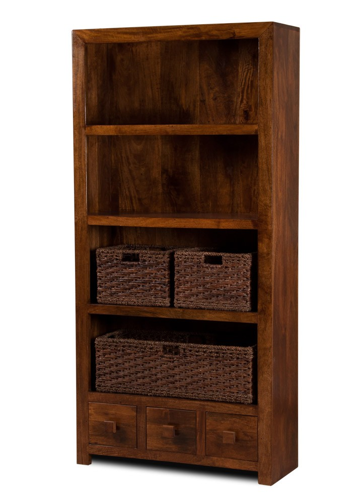 Solid Mango Wood Bookcase With Drawers Casa Bella Indian