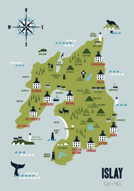Map of Islay whisky distilleries