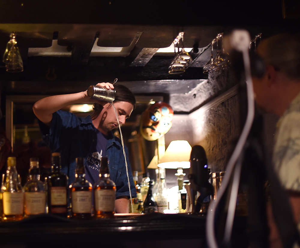 David making a Rum Gimlet, DarkBear Foursquare Vintage Tasting with Richard Seale ©SatedOnline