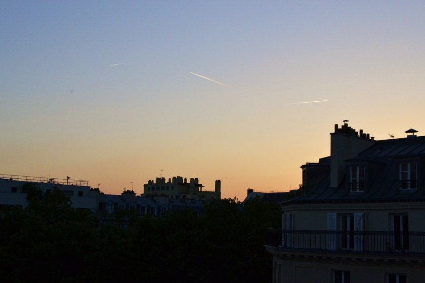 Sunset over Parisian rooftops