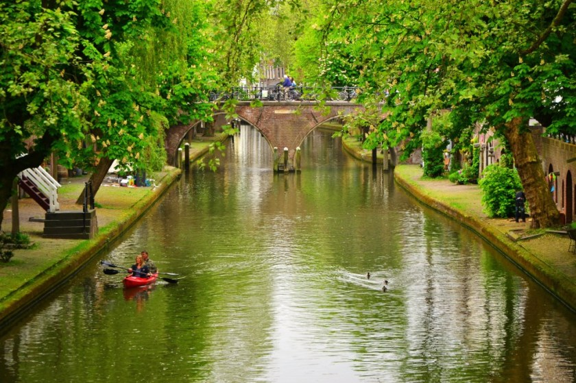 A canoo on the canal in Utrecht, Holland