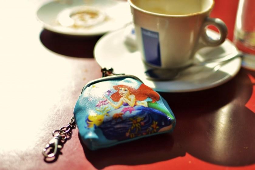 Mini wallet at breakfast in Paris