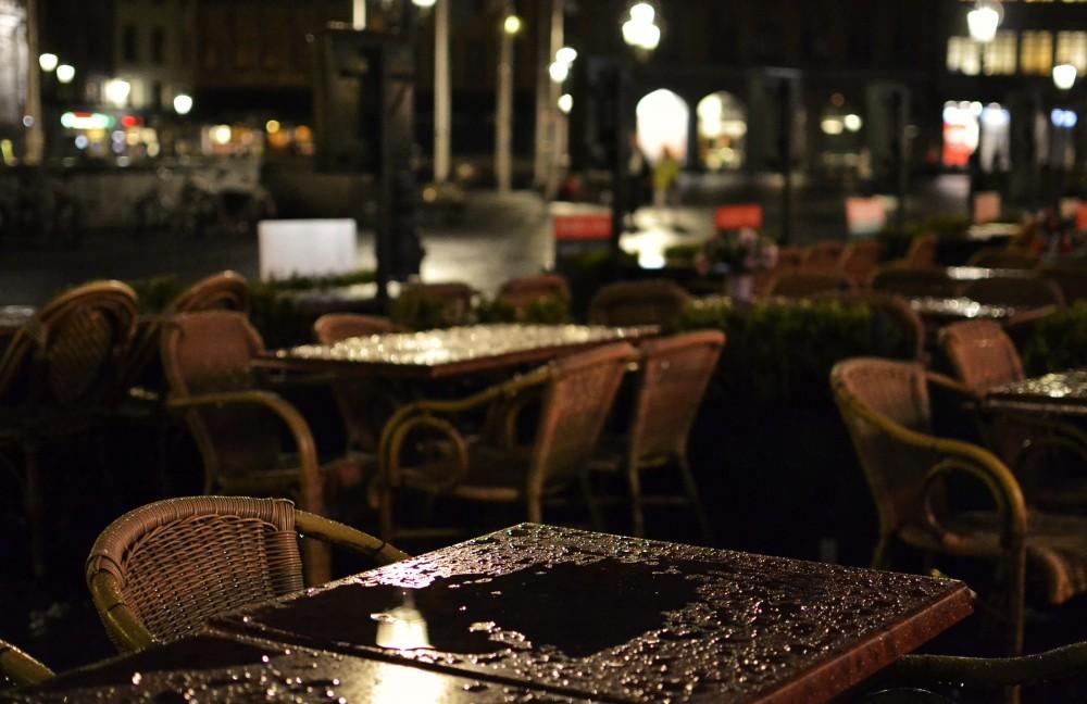 Bruges, Belgium, in the rain