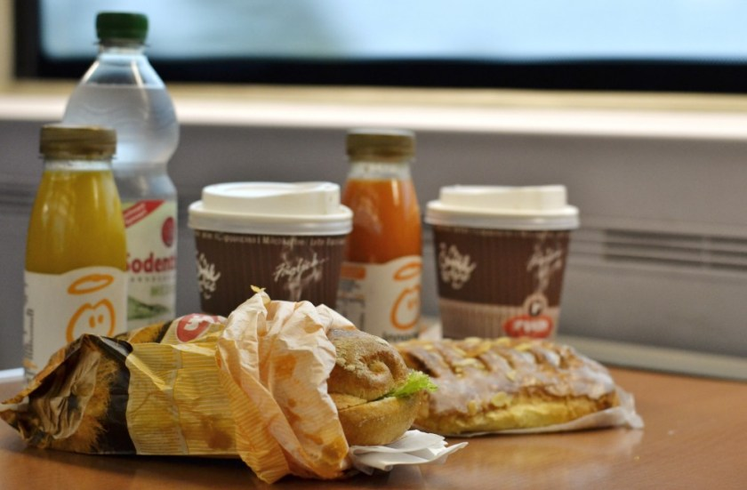 Breakfast on the train in Germany