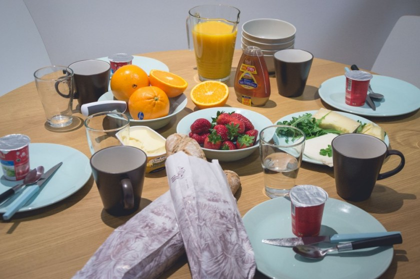 Breakfast in our GowithOh apartment in Madrid, Spain