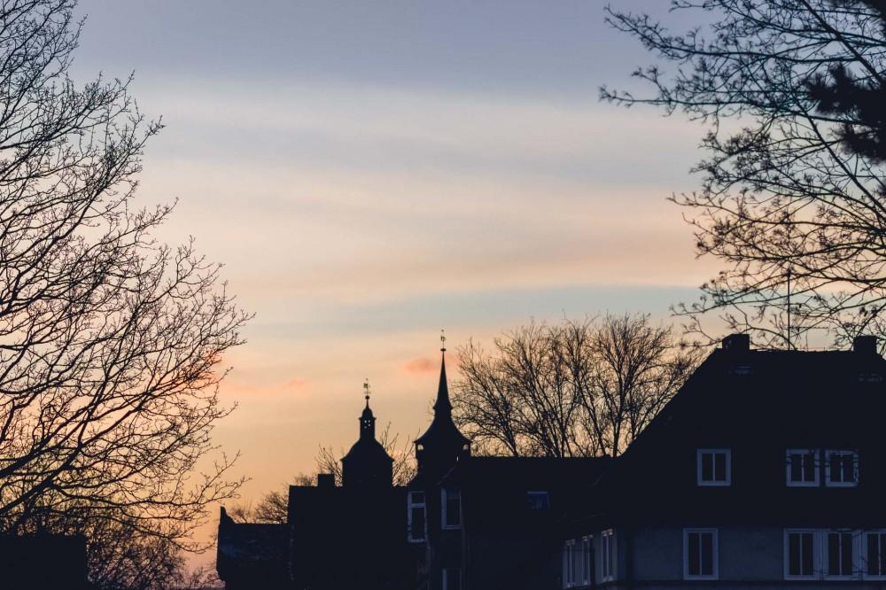 Winter sunset in Göttingen, Lower Saxony, Germany