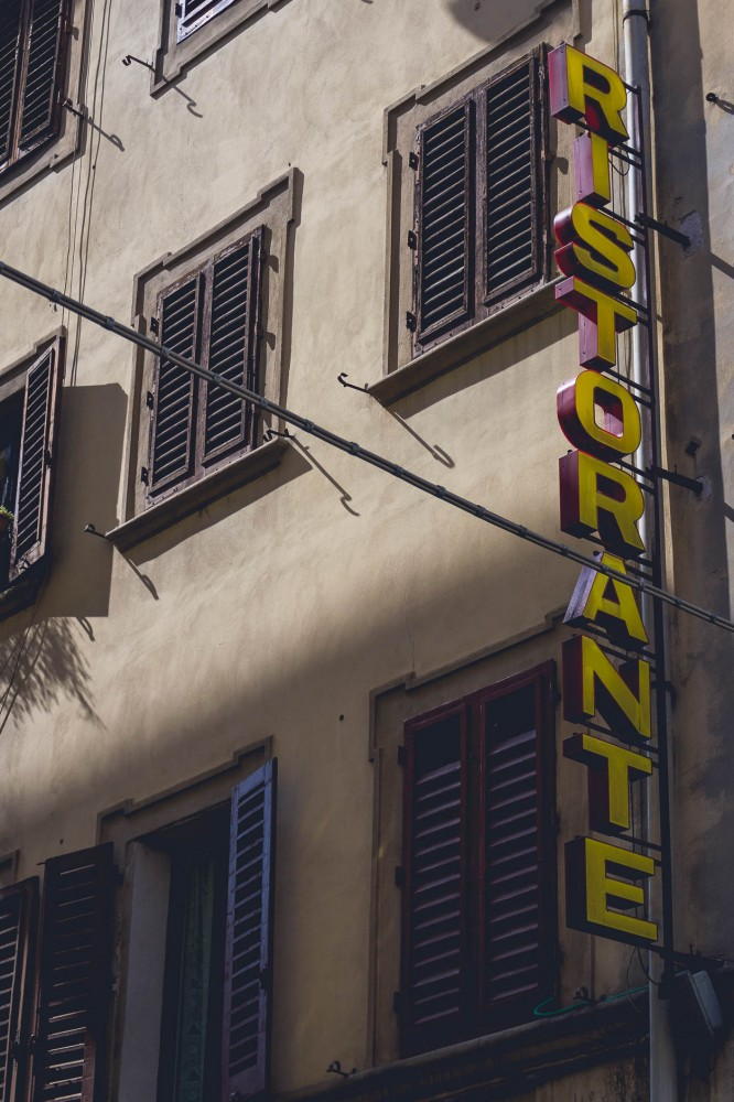 """A classical """"Ristorante"""" sign in Florence, Italy"""
