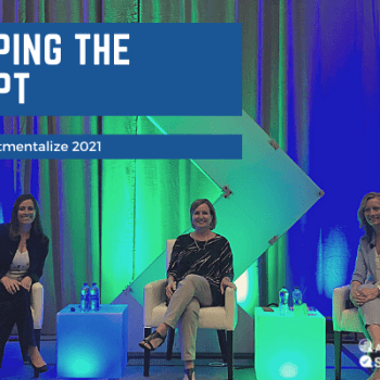flipping the script text with image of 3 panelists sitting in chairs on stage