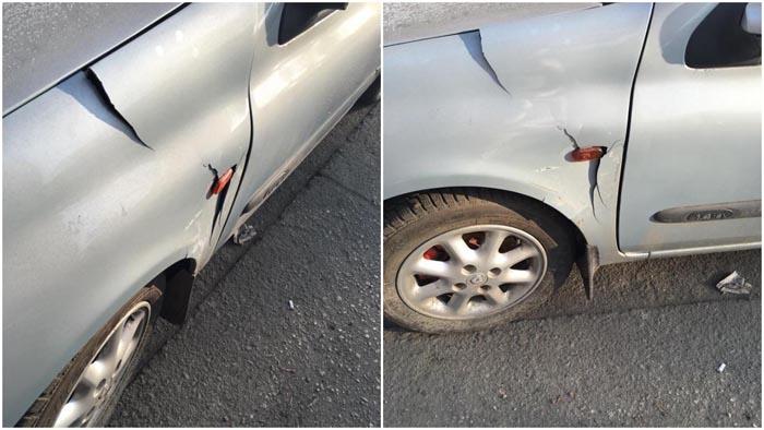 Mașină lovită pe o stradă din Satu Mare. Șoferul vinovat, căutat pe Facebook (Foto)