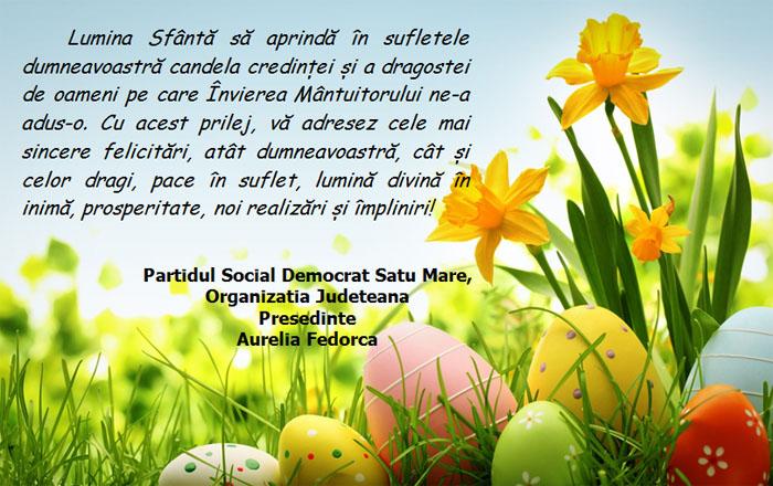 PSD Satu Mare vă urează Paște Fericit