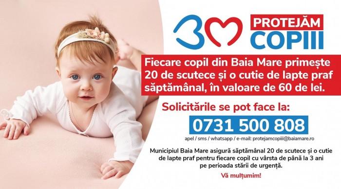 Baia Mare: copii sub 3 ani primesc scutece și lapte praf gratuit de la primărie