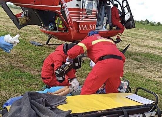 Copil accidentat transportat cu elicopterul SMURD la Oradea
