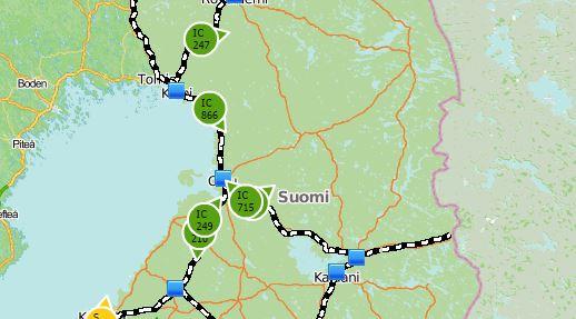 Junat kartalla 1