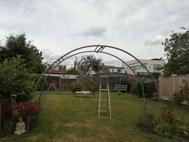 Recycled trampoline pergola