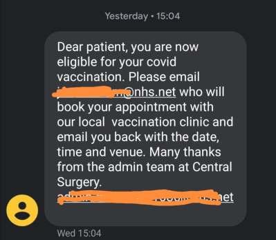 Covid Vaccine text message