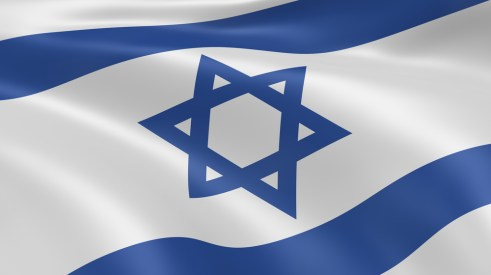 The flag of Israel, white with two blue stripes, one above and one below a blue six pointed star, the Star of David. Magen David.